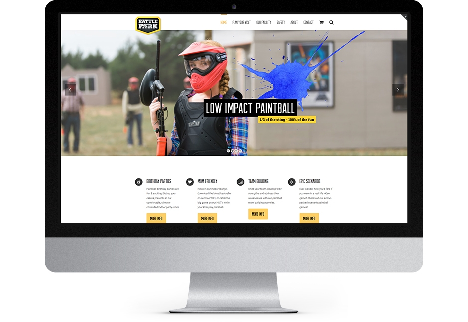 battle park website home page displayed on iMac computer monitor