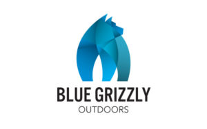geometric blue grizzly bear figure with blue grizzly outdoors text