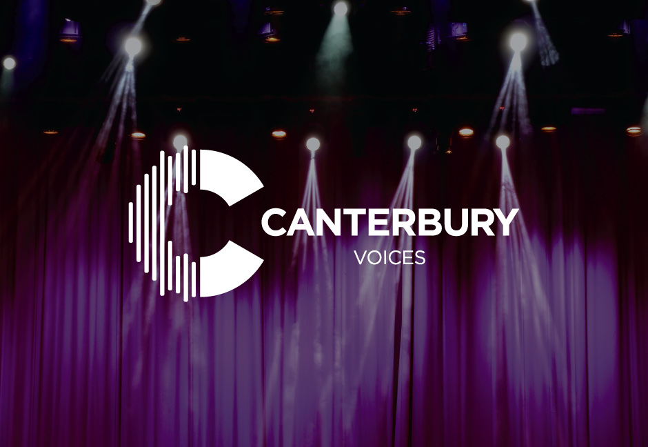 Canterbury Voices Logo designed by Hester Designs displayed in front of a decorative background