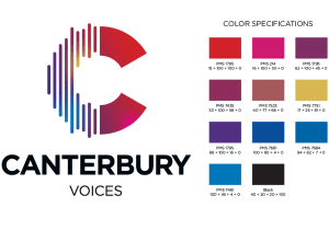 Canterbury Choral Society Logo with color specifications by Hester Graphics