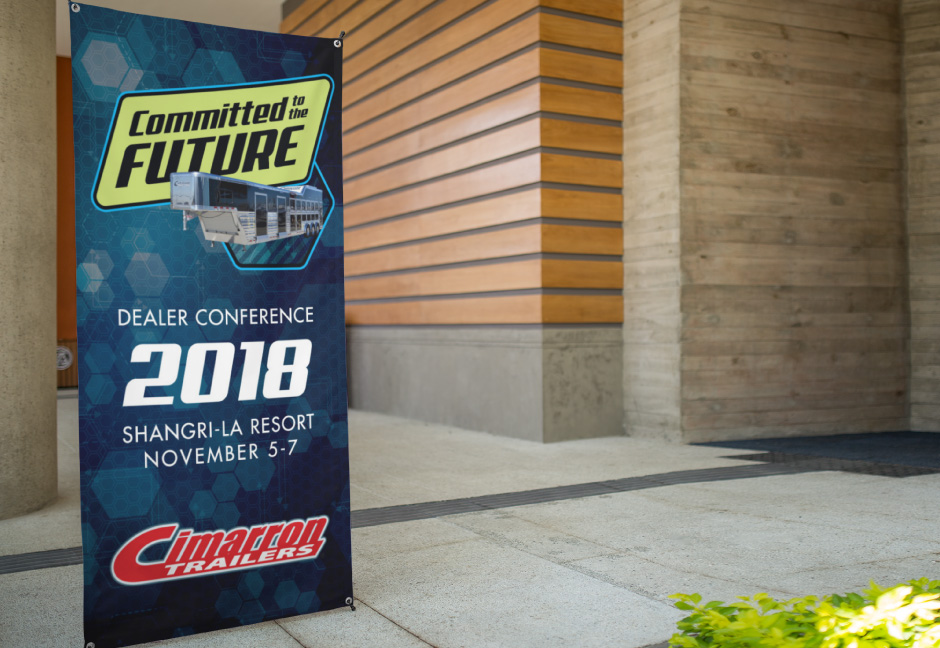 Cimarron Trailers dealer conference banner mockup