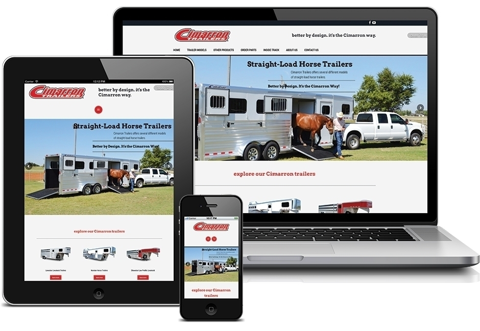 Cimarron Trailers website displayed on laptop, tablet, and smartphone screens