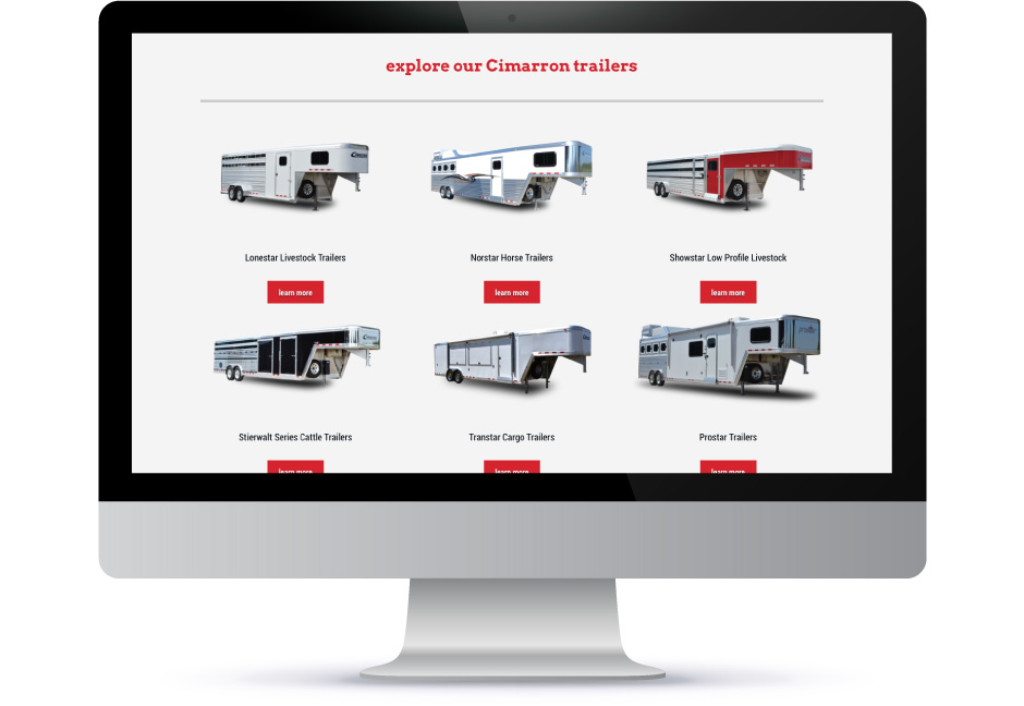 Cimarron Trailers website displayed on desktop computer screen