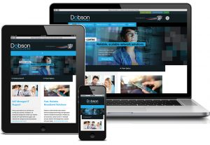 laptop, tablet, and smartphone all displaying dobson technologies home page