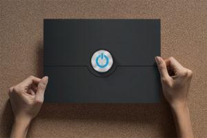 Dobson Fiber Awareness mailer concept mockup being held in hand