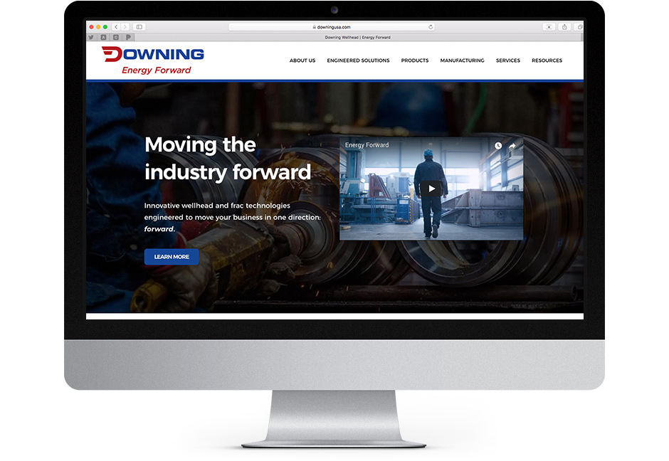 Screenshot of the home page on Downing USA.com designed by Hester Designs in Oklahoma City