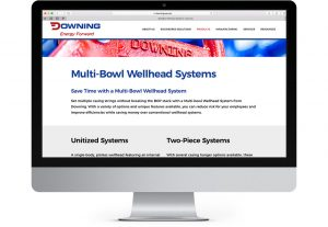 Screenshot of the multi-bowl wellhead systems page on Downing USA.com designed by Hester Designs in Oklahoma City