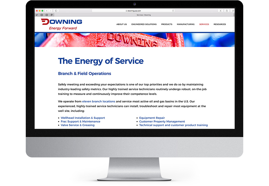 Screenshot of the services page on Downing USA.com