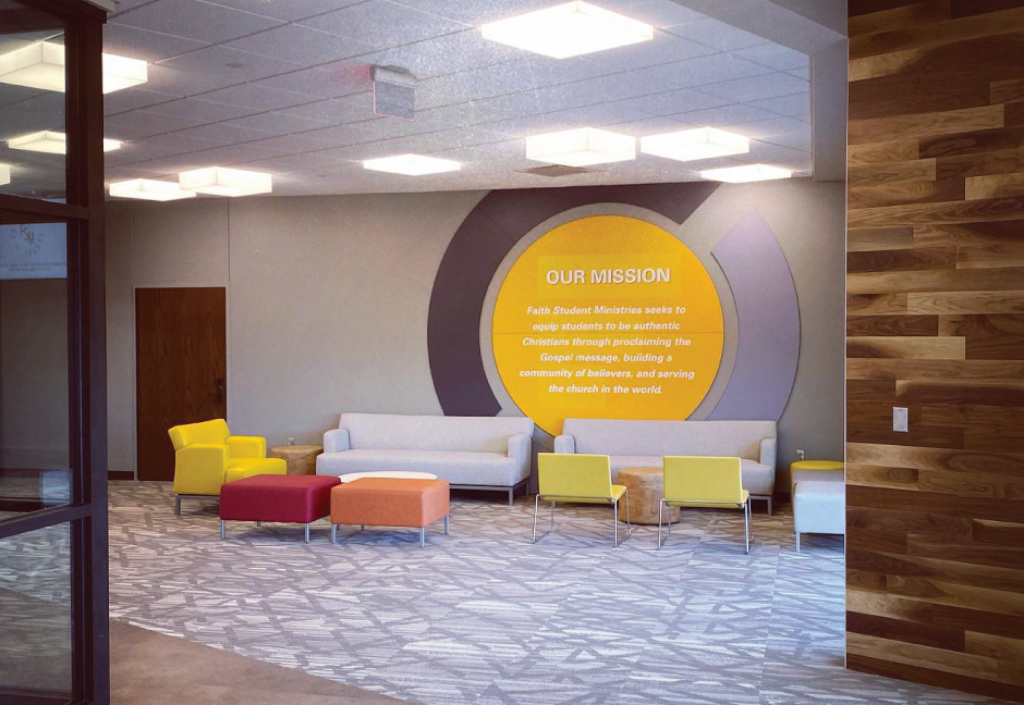 Faith Student Ministries mission signage in new dedicated space