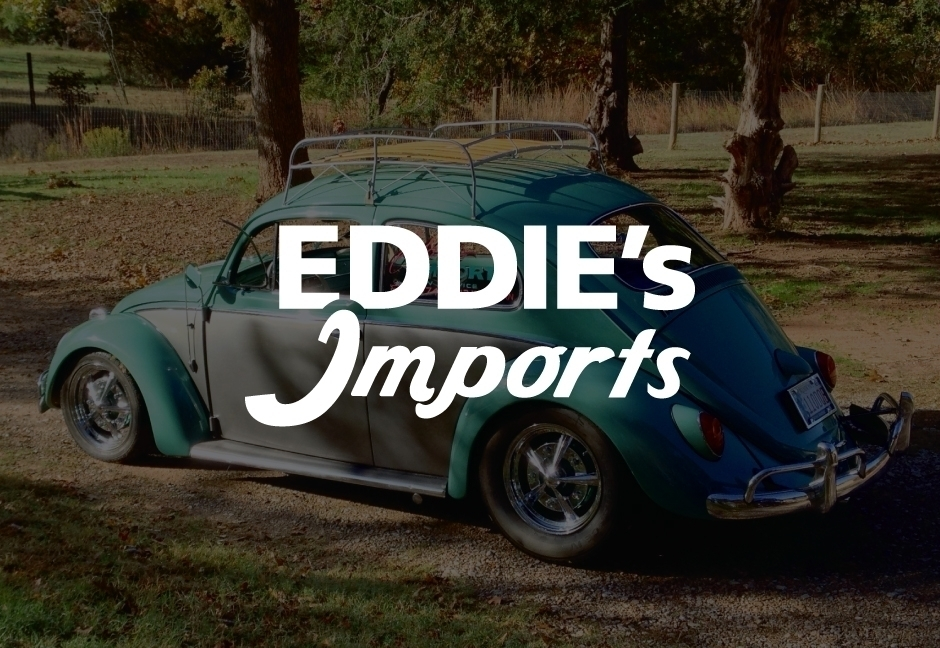 Eddie's Imports Logo on decorative background