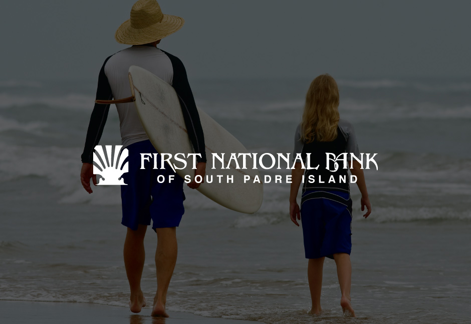 First National Bank of South Padre Island Logo over decorative background image