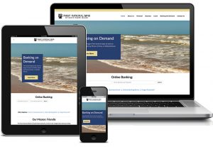 First National Bank of South Padre Island website displayed on laptop, smartphone, and tablet screens