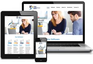 Financial Software Systems homepage displayed on laptop screen, tablet screen, and smartphone screen