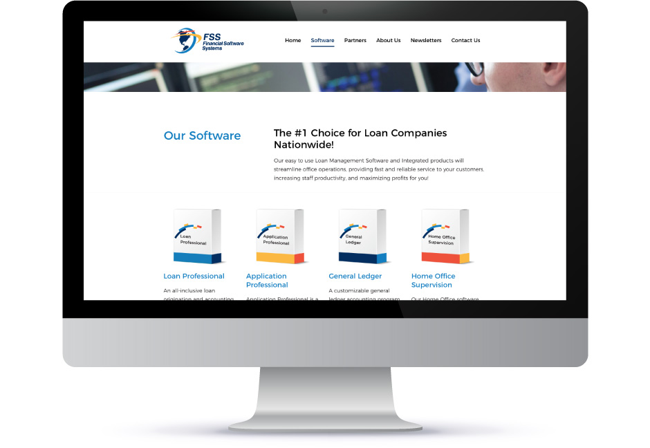 Interior page on Financial Software Systems website displayed on desktop computer