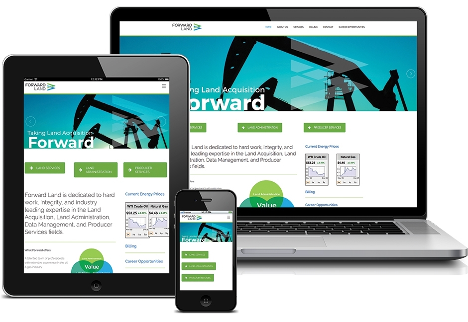 Forward Land website displayed on laptop, tablet, and smartphone