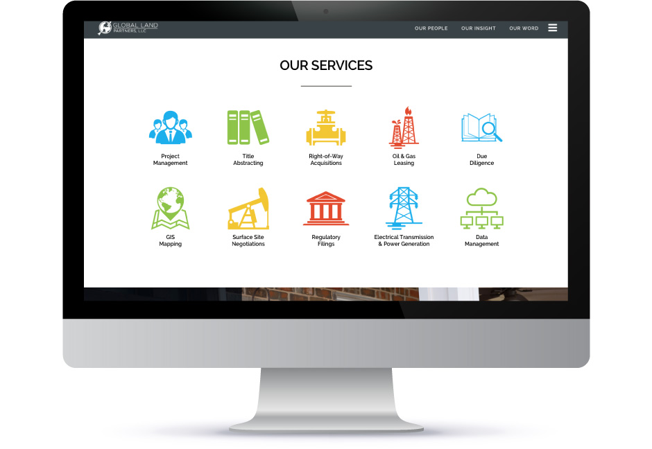 Global Land Partners Services website mockup