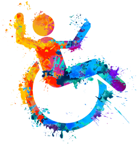 Colorful painted ada compliant handicap icon