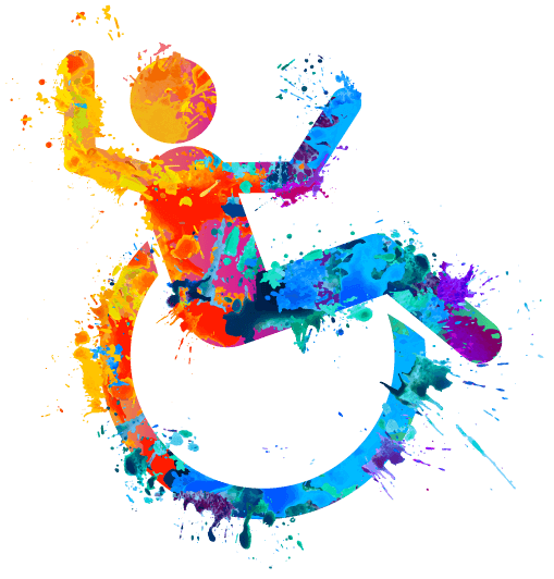 Colorful painted ada compliant handicap icon