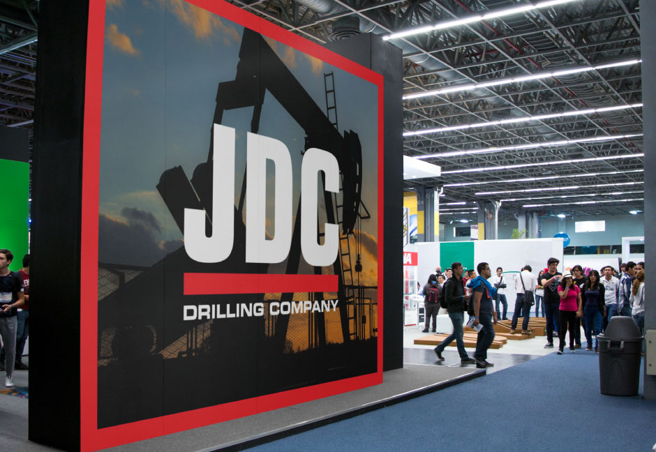 Custom trade show booth for JDC Drilling mockup by Hester Designs