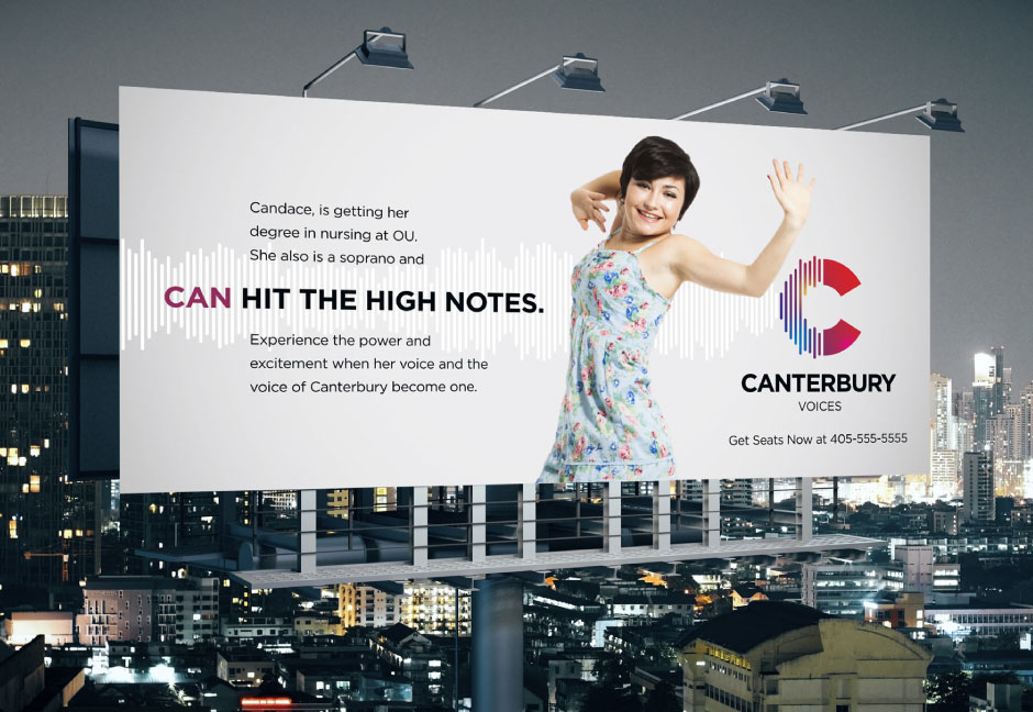 Hester Designs branding for Canterbury Choral Society included this billboard fo events