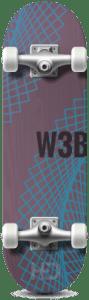 Hester Designs skateboard with web development graphics