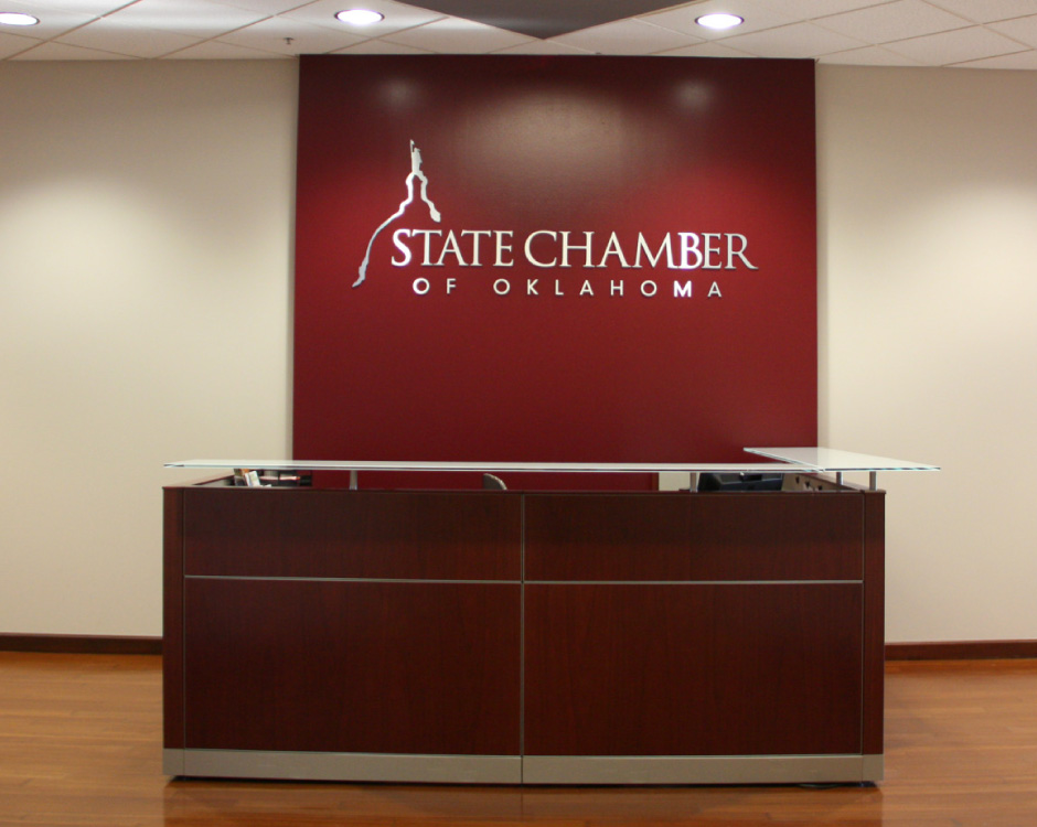 Custom interior graphics at State Chamber of Oklahoma