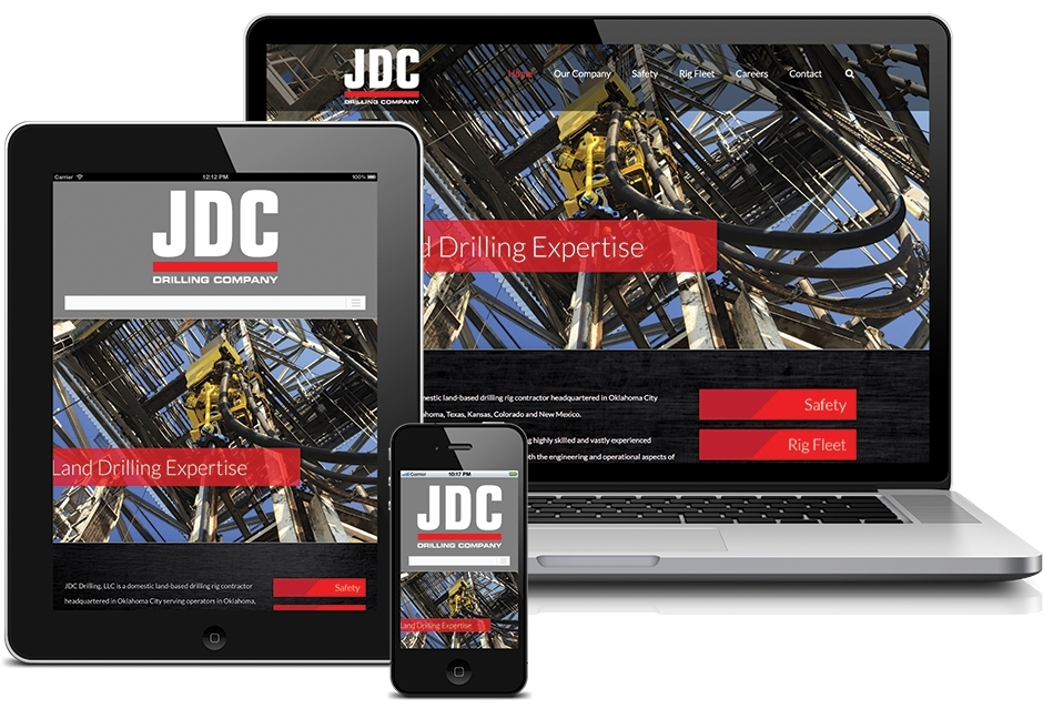 JDC Drilling Homepage displayed across laptop, tablet, and smartphone