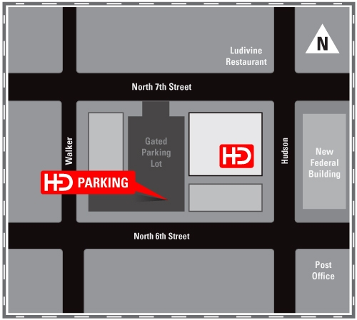 Map to Hester Designs parking lot at 715 North Hudson.