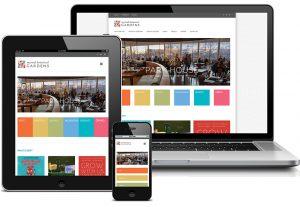 Myriad Botanical Gardens web site displayed on laptop, tablet, and smartphone