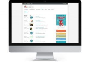 Myriad botanical gardens events page displayed on iMac screen