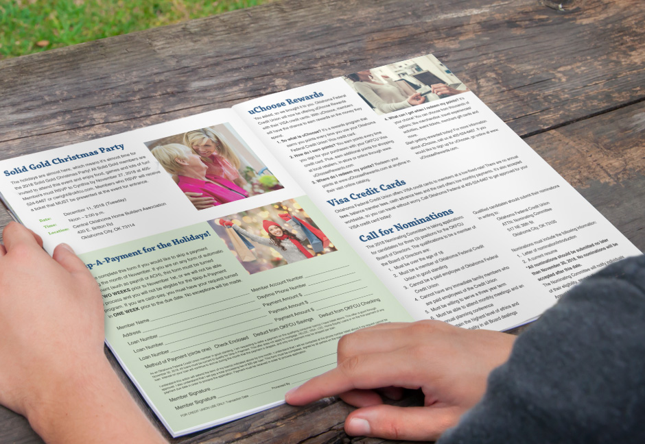 Oklahoma Federal Credit Union member reading quarterly newsletter