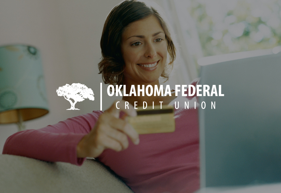 decorative background with Oklahoma Federal Credit Union logo foregound