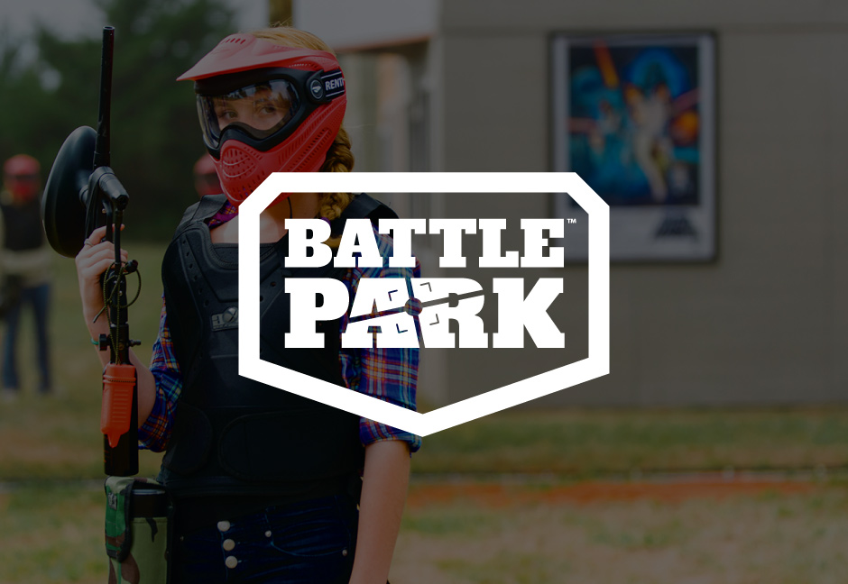 decorative background with battle park logo foregound