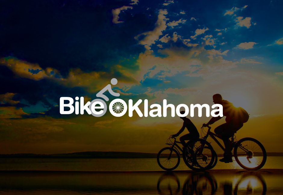 decorative background with bike oklahoma logo foregound