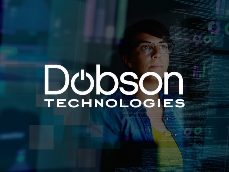 decorative background with dobson technologies logo foregound