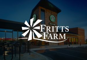 decorative background with fritts farm logo foregound