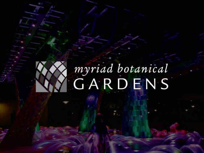 decorative background with myriad botanical gardens logo foregound