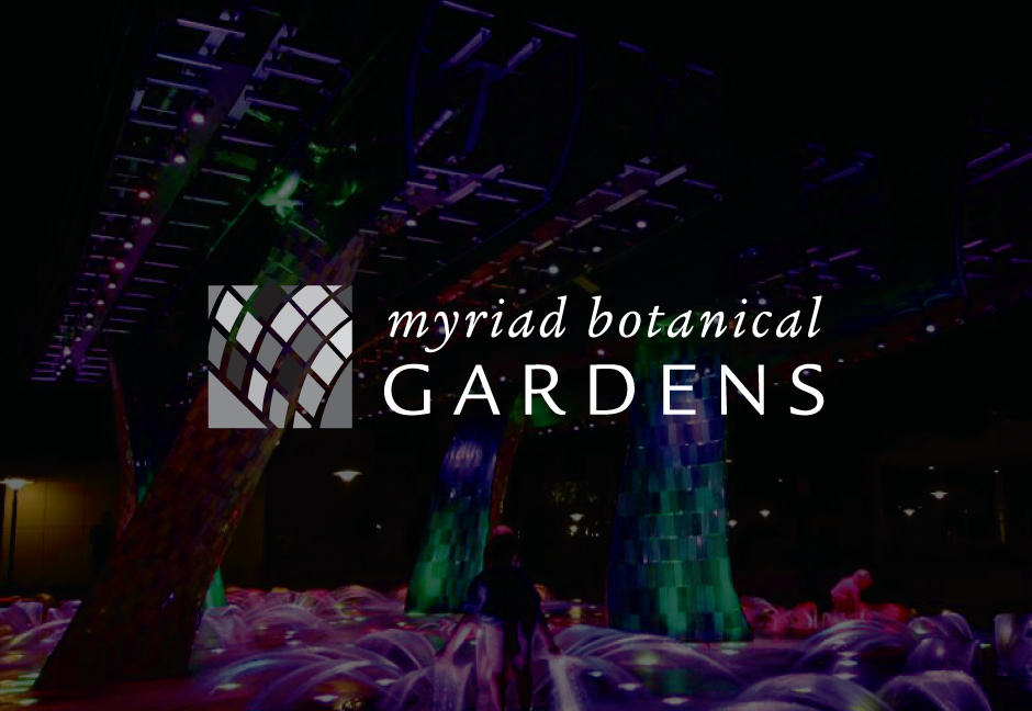 decorative background with myriad botanical gardens logo foregound