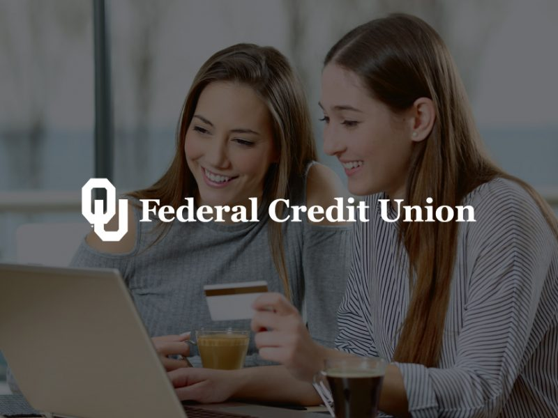 decorative background with OU federal credit union logo foregound