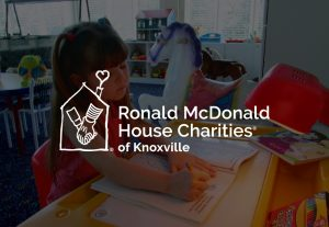 decorative background with ronald McDonald house charities knoxville chapter logo foreground