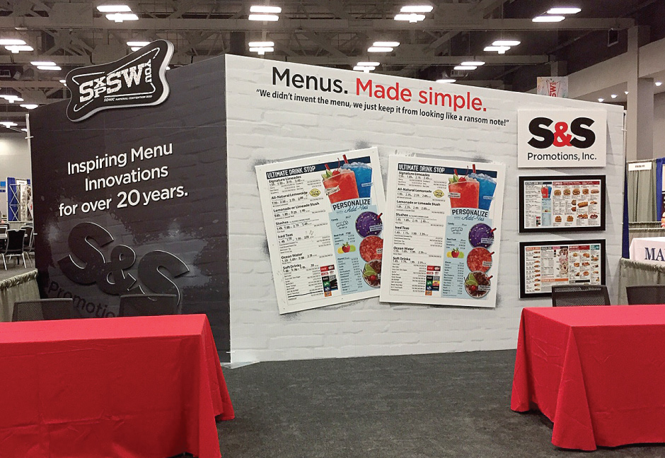 S&S Promotions trade show booth designed by Hester Designs and created by S&S Promotions