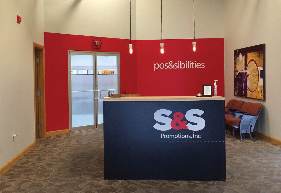 S&S Promotions lobby with custom interior design by Hester Designs