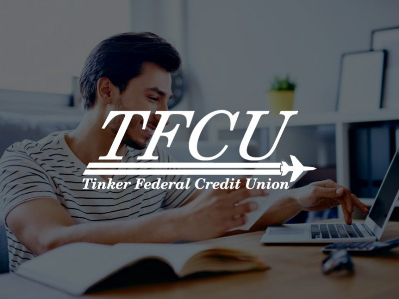 Decorative background with Tinker Federal Credit Union Logo foreground