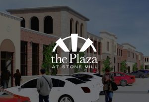 The Plaza at Stone Mill Logo on decorative background