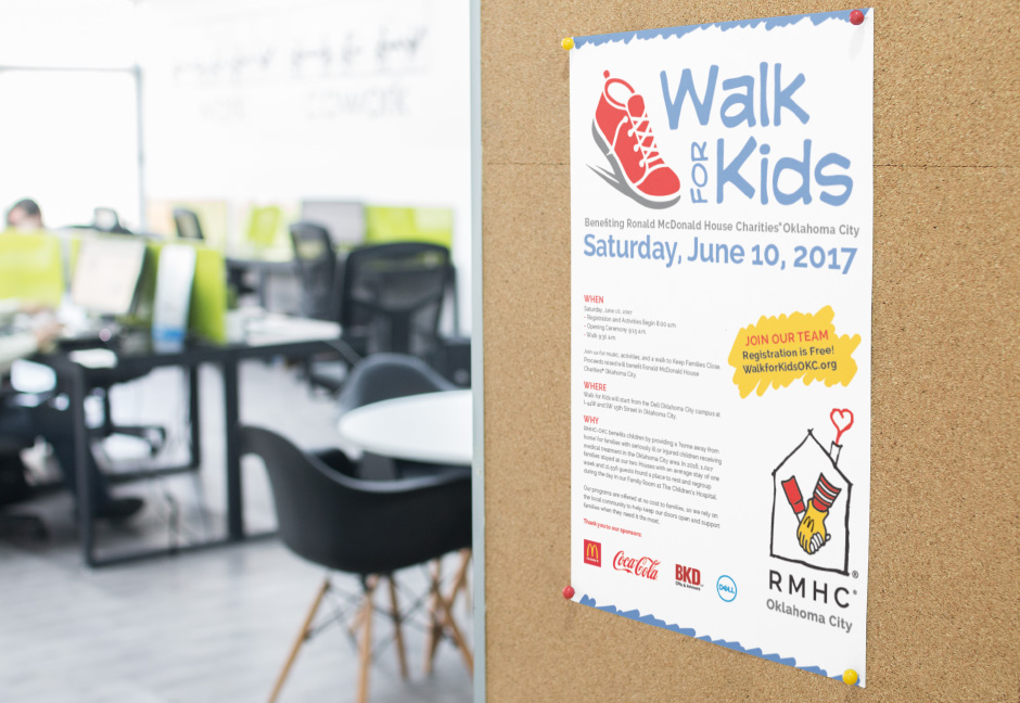Ronald McDonald House Charities Oklahoma City Walk for Kids Poster displayed on office message board