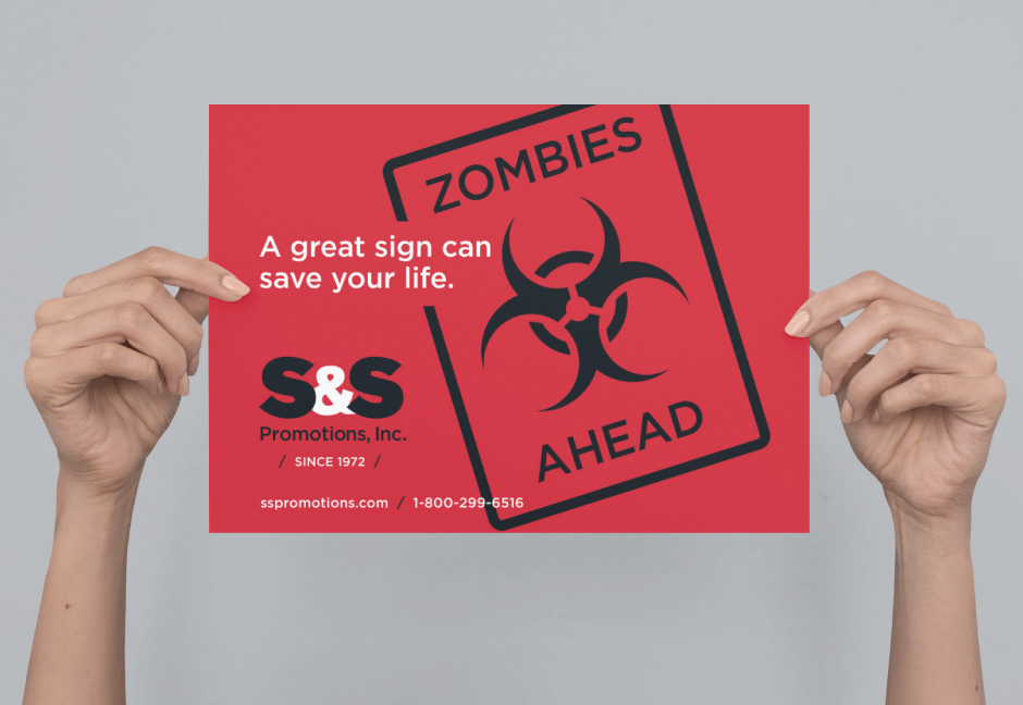 Signage mockup a great sign can save your life zombies ahead sign