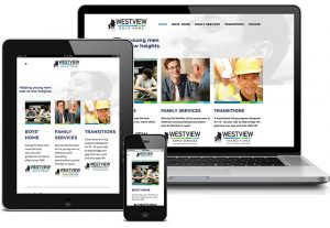 Westview Boys Home Web Site displayed on laptop, tablet, and smartphone