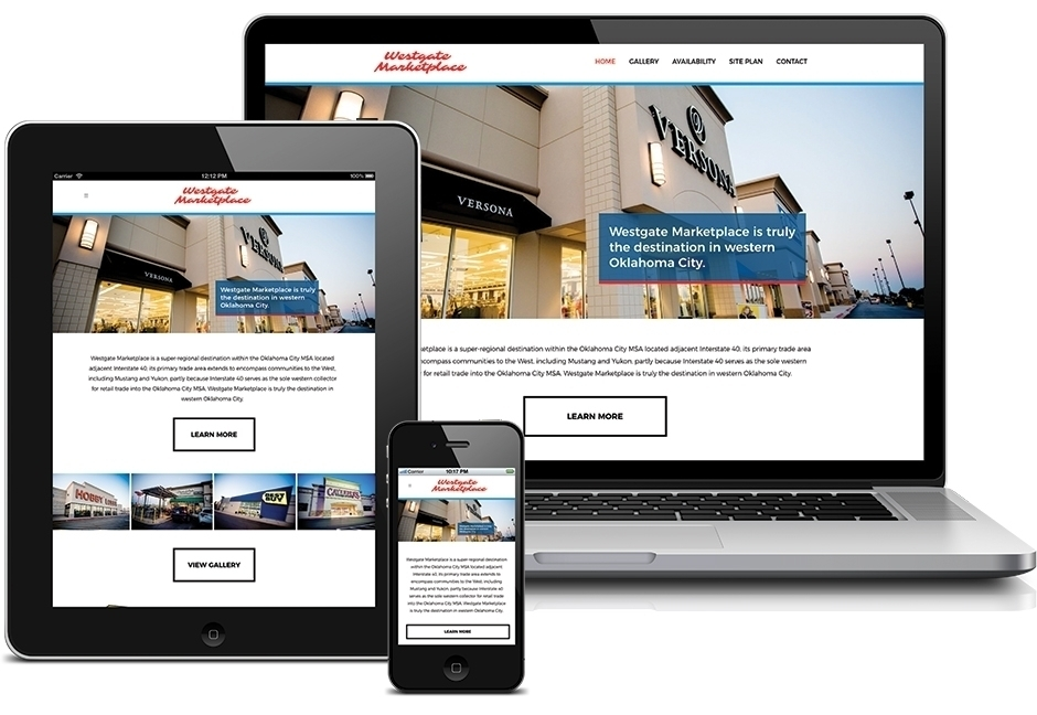 Westgate marketplace website displayed on laptop, tablet, and smartphone screens