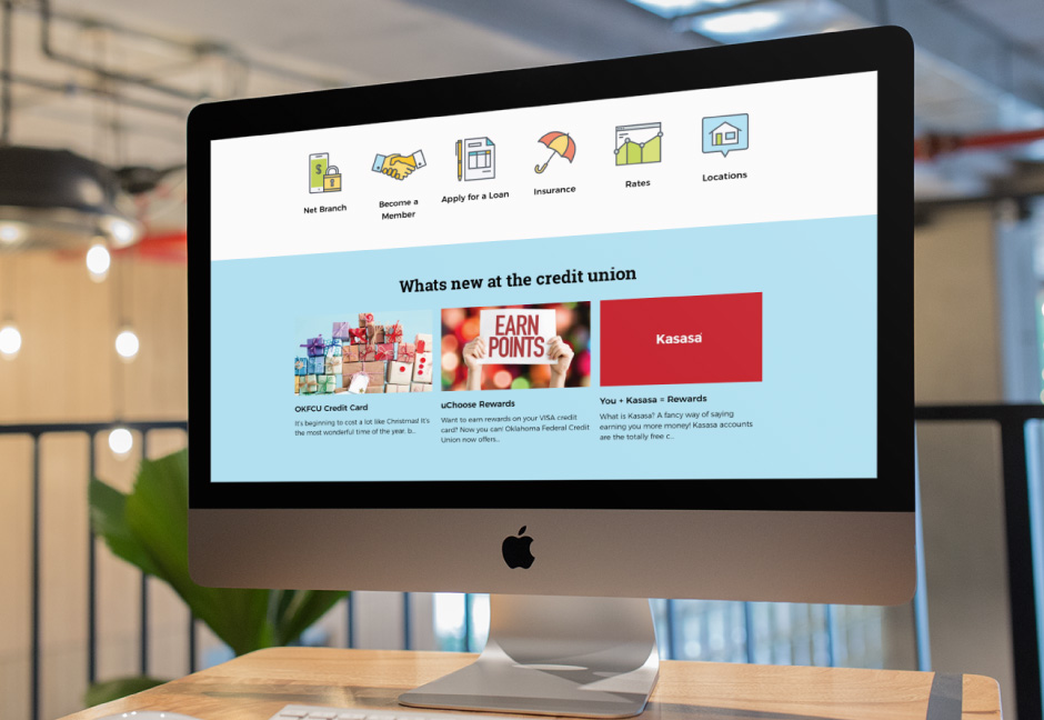 Oklahoma Federal Credit Union home page displayed on iMac computer screen