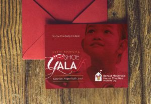 Ronald McDonald House Charities Oklahoma Fundraiser Gala invitation and envelope